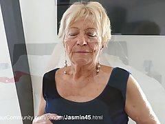 Блондинка бабушка капризничает сняла с себя сексуальный красный наряд